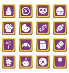 sweets candy cakes icons set purple square vector image