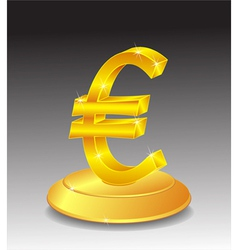 Symbol of Gold Euro on stand vector image