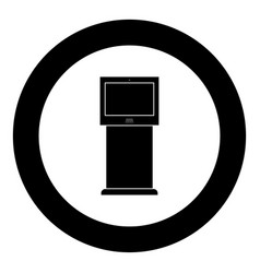 terminal stand with touch screen black icon in vector image