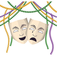 theatrical mask with beads vector image