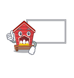 Thumbs up with board chicken coop isolated in the vector