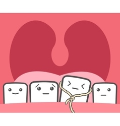 Tooth pulled thread vector