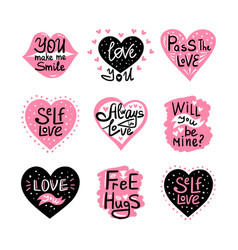 valentine lettering love collection vector image