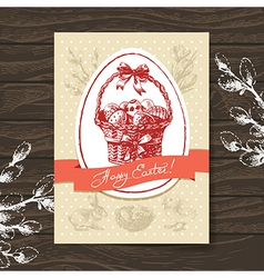 Vintage easter greeting card vector