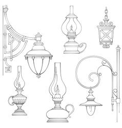 Vintage gas lamps kerosene lamps silhouette vector