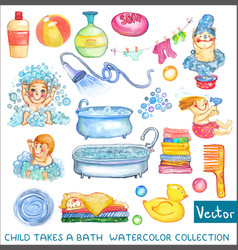 Watercolor children and bath time over white vector