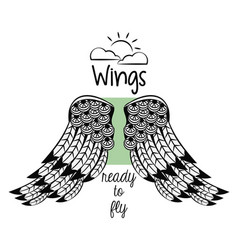 wings ready to fly vector image