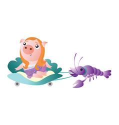 zodiac pig cancer chinese horoscope symbol 2019 vector image