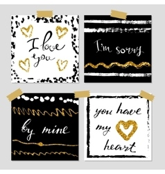 A set of hand drawn style greeting cards in black vector image vector image
