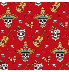 mexican skull pattern red vector image vector image