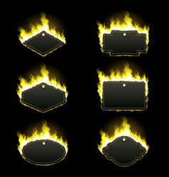 set of six frames surrounded with yellow flame vector image vector image