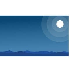 Silhouette of hills and moon scenery vector image vector image