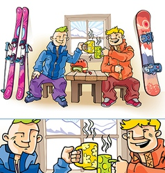 Snowboarder and Skier vector image vector image
