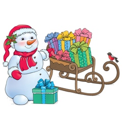 Snowman and sleigh with gifts vector image vector image