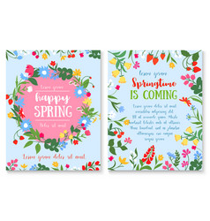spring holiday poster with flower and berry wreath vector image vector image