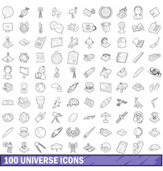 100 universe icons set outline style vector image vector image