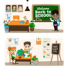 back to school set with pupils vector image