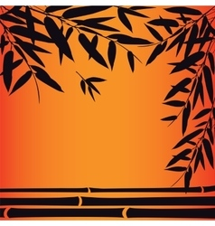 Bamboo trees and leaves at sunset time vector