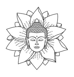 buddha head and lotus vector image vector image