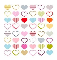 Colorful Heart Set Red Valentine Symbols vector image