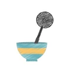 drawing bowl spatula frying utensil kitchen vector image