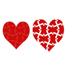 heart shape puzzle heart puzzle template vector image