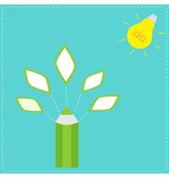 Pencil with leaf icons and light bulb sun idea con vector