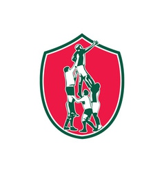 Rugby Lineout Catch Shield vector image vector image