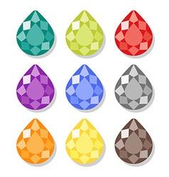 Cartoon pear gems icons set vector image vector image