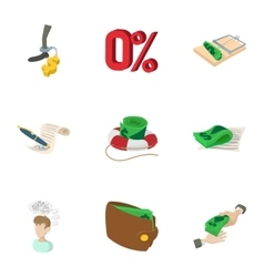 Cash icons set cartoon style vector image vector image