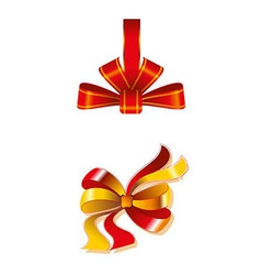 Close Up Of A Red Ribbon Bow Gift Isolated vector image