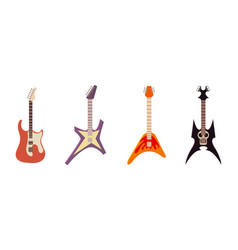 electric guitar icon set cartoon style vector image vector image
