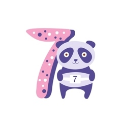 Panda standing next to number seven stylized funky vector