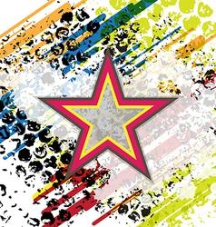 retro star on grunge background vector image