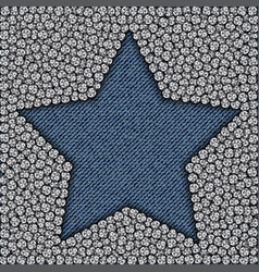 Blue jeans star with spangles vector
