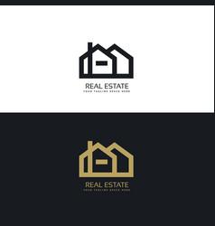 Clean line style real estate logo design concept vector