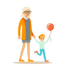 grandmother and boy with balloon holding hands vector image