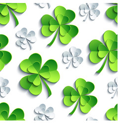 seamless pattern with 3d patricks clover cutting vector image