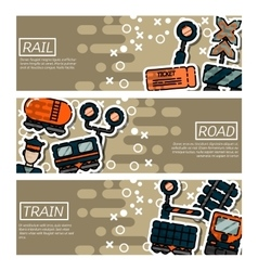 Set of Horizontal Banners about railroads vector image