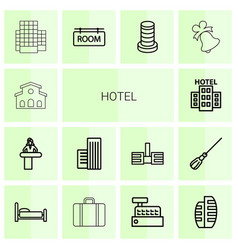 14 hotel icons vector