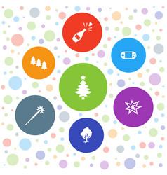 7 christmas icons vector image