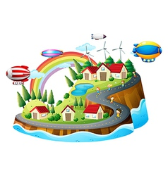 A view of the village with kids vector