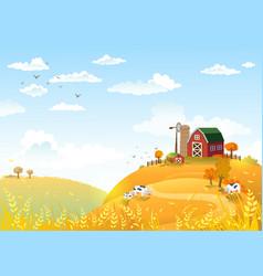 autumn landscape with farm vector image