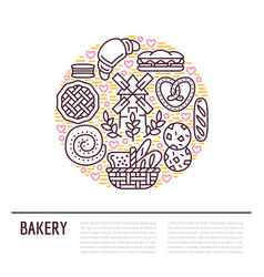 Bakery confectionery poster template food vector