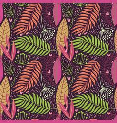 beautiful hand drawn plants seamless pattern vector image