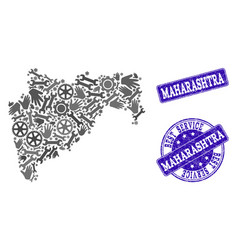 Best service composition of map of maharashtra vector