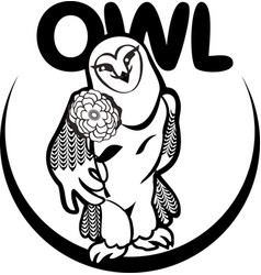 Black and white owl with a flower vector