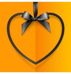 Black heart shape frame hanging on silky ribbon vector image