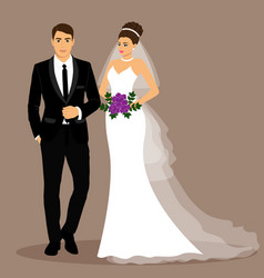 bride and groom couple vector image