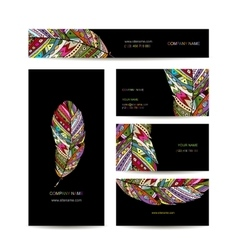Business cards with colorful feather for your vector